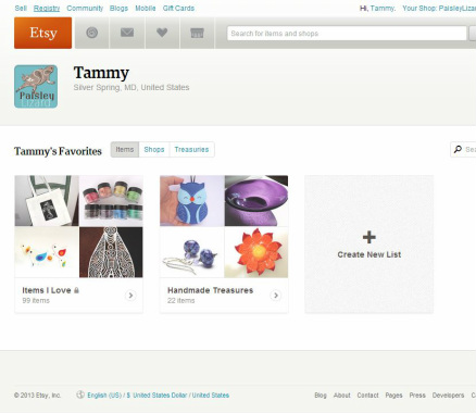 screen shot of Etsy favorites page