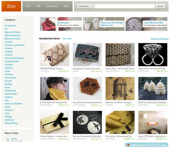 screenshot of Etsy front page