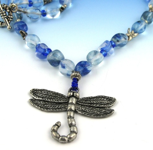 Picture of blue dragonfly necklace