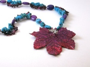 Pink Maple Leaf necklace with turquoise and garnet.