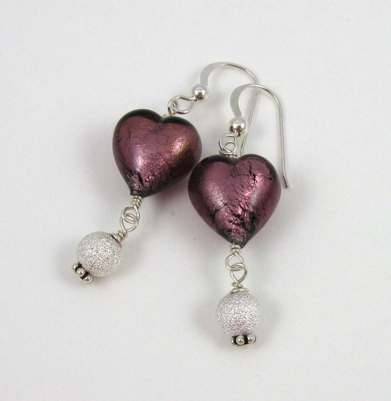 Picture of purple foil heart earrings