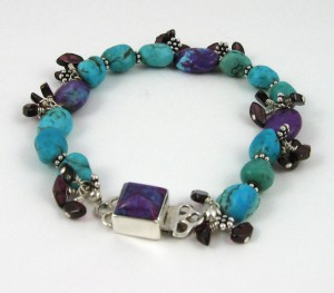 Purple and blue turquoise with garnet bracelet.