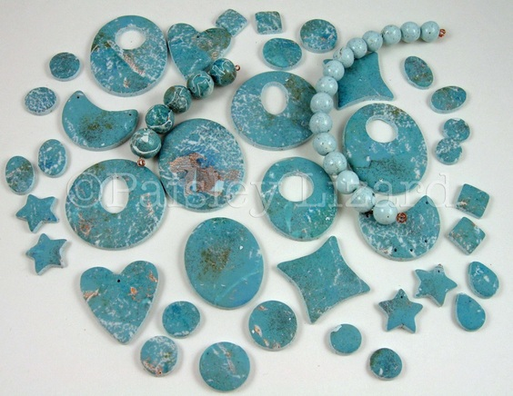 faux larimar polymer clay beads