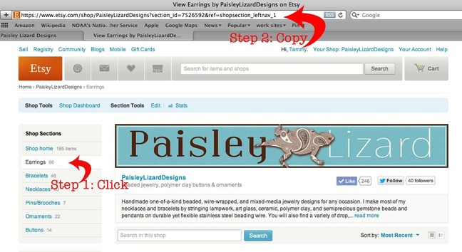 screenshot etsy shop page showing how to get a shop section url