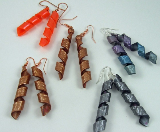 polymer clay corkscrew earrings
