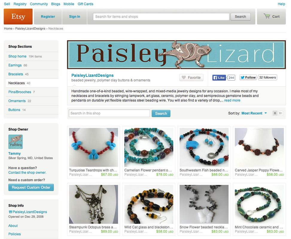 Picture of Paisley Lizard shop on Etsy