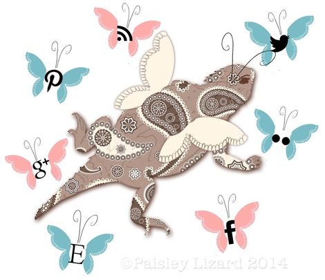 Paisley Lizard logo with social media butterflies