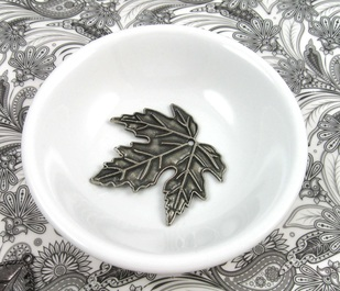 antiqued silver leaf focal in bowl