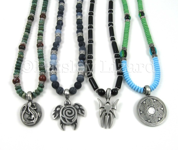 four beaded necklaces with pewter pendants