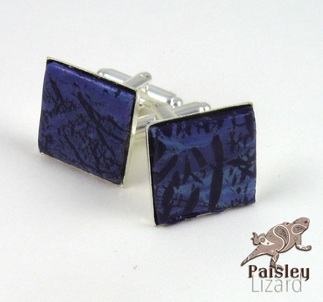 faux purple turquoise cuff links