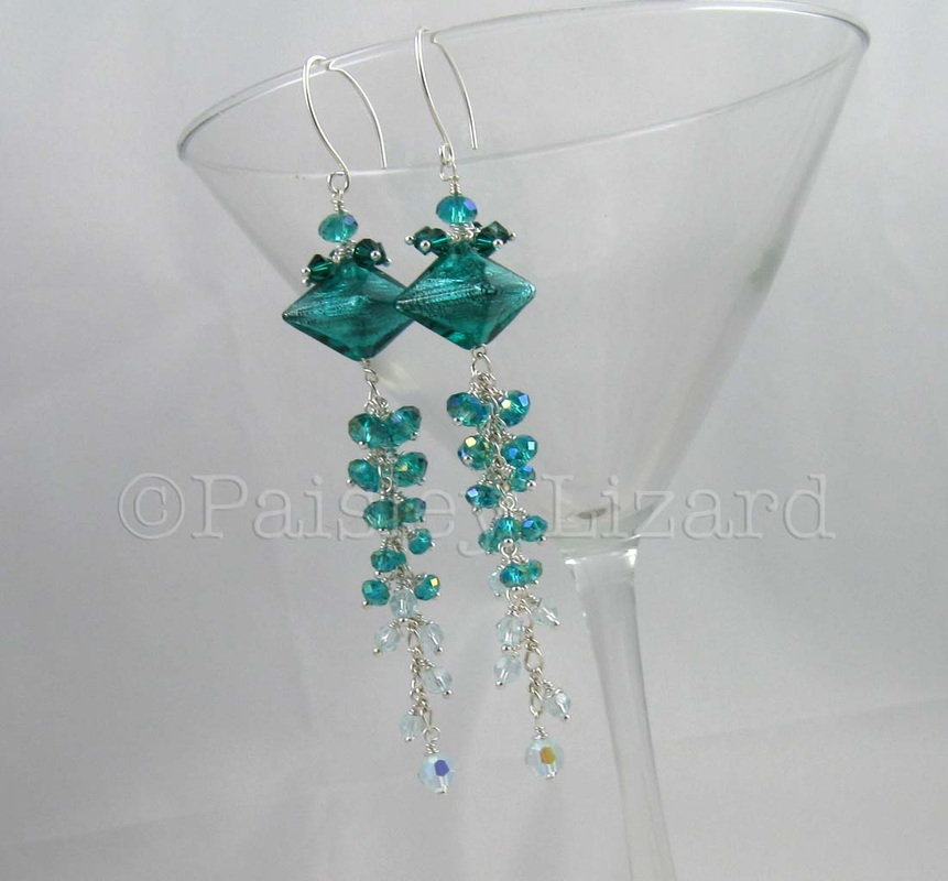 Aquarmine glass and crystal beaded chandelier earrings.