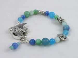 Blue green quartz beads bracelet with silver fish beads and box clasp