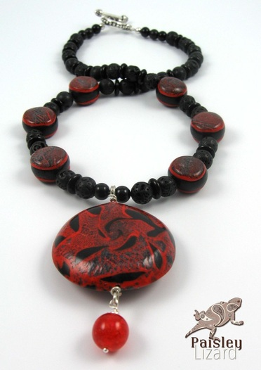 fire element polymer clay beaded necklace