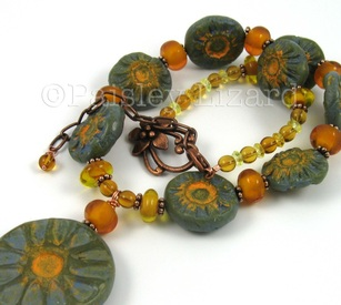 Rustic Sunflowers necklace