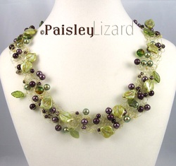 beaded wire crochet vineyard necklace