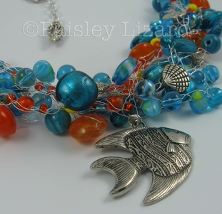 wire crochet necklace with fish pendant