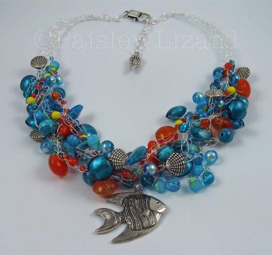beaded wire crochet necklace with fish pendant