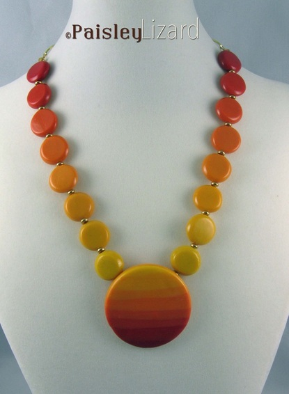 Sunrise Sunset polymer clay necklace