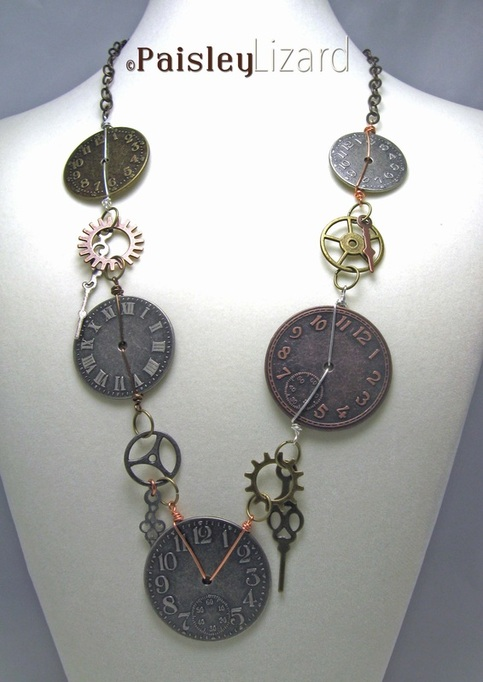 clock faces necklace on display bust