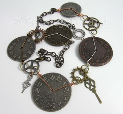 mixed metal clock parts necklace