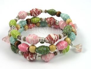 memory wire bracelet with paper beads