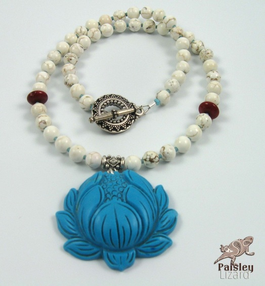 Beaded necklace with turquoise lotus pendant