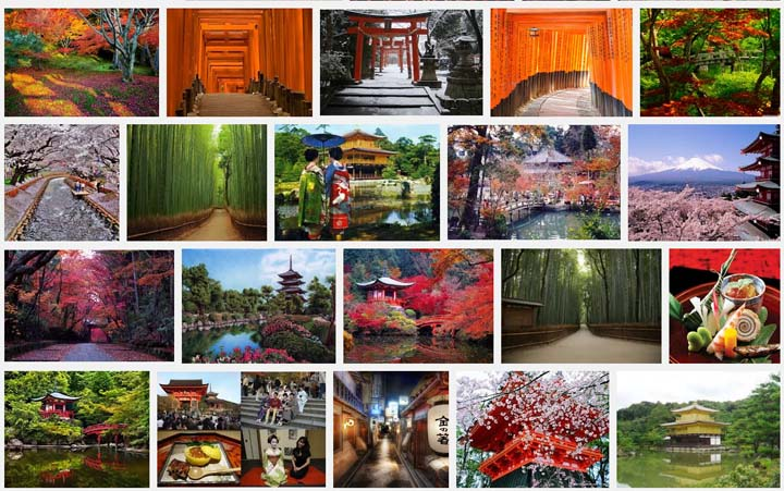 Screen capture of image search for Kyoto, Japan