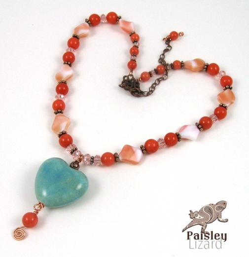 Turquoise heart on coral glass necklace
