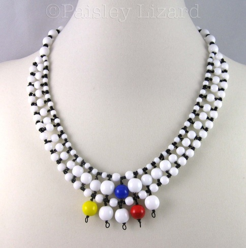 Mondrian-inspired modern abstract necklace