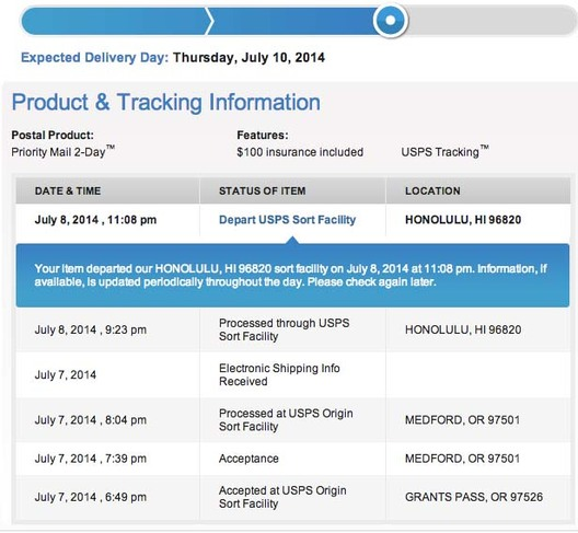 USPS package tracking for my beads