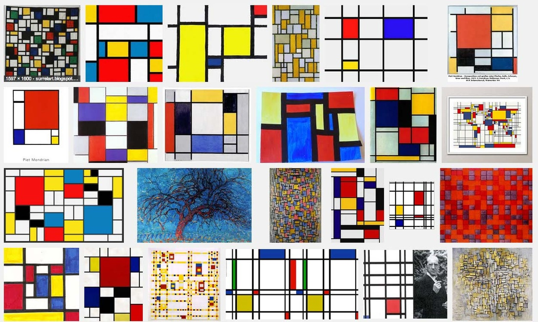 screen shot of image search for Piet Mondrian paintings