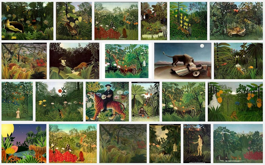 Screen shot of image search results for Rousseau paintings