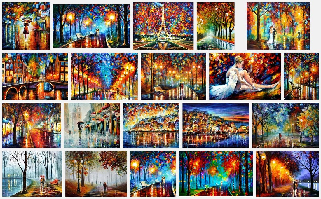 Screen shot of image search for Leonid Afremov's paintings