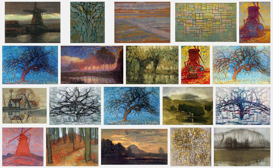 screen shot of image search for Mondrian's early paintings