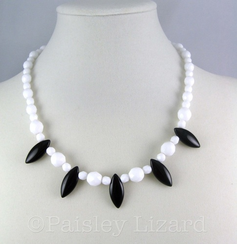 Picture of black and white czech glass beaded choker necklace