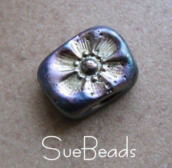 Picture of black metallic flower lampwork bead