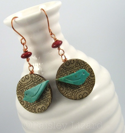 Picture of button dangle earrings