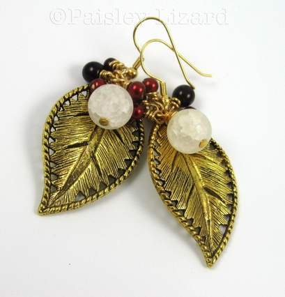 Picture of gold leaf earrings with beaded clusters