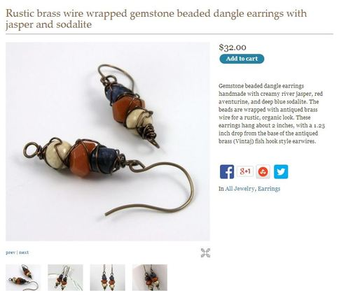 Screenshot of earring listing for Paisley Lizard on Indie Made