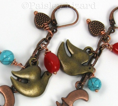 Picture of dove charm earrings