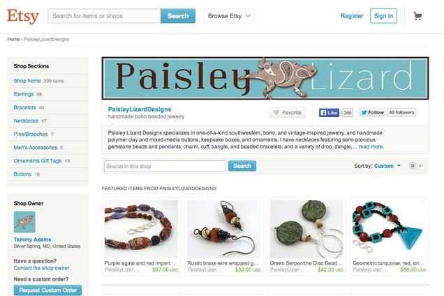 Screenshot of Paisley Lizard Designs shop on Etsy