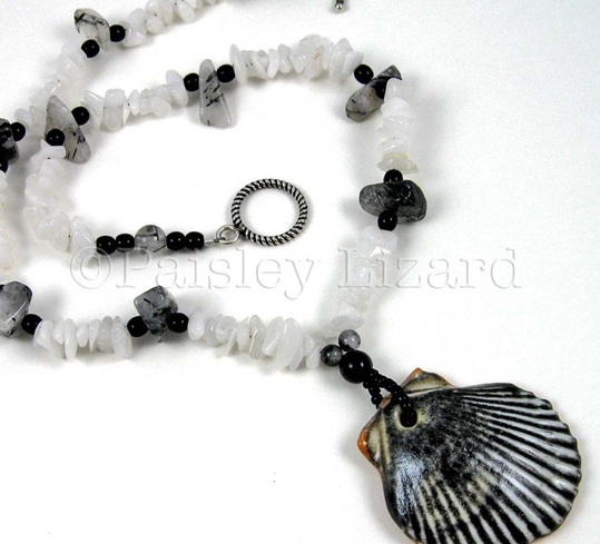 Picture of black and white seashell chip beaded necklace