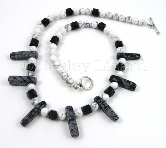 Picture of snowflake obsidian choker necklace