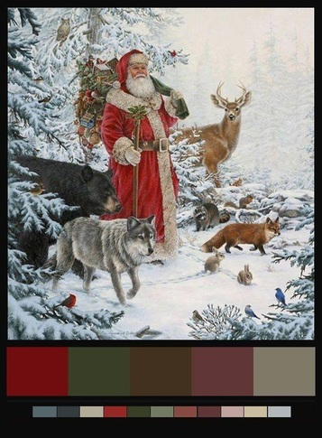 Picture of father christmas with woodland creatures