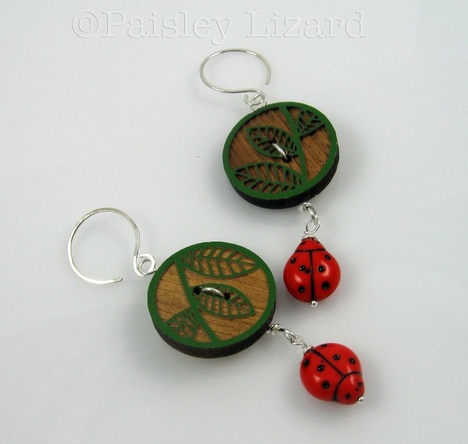 Picture of ladybug button earrings