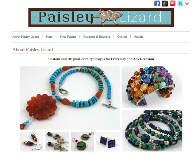 Screenshot of Paisley Lizard Indie Made home page