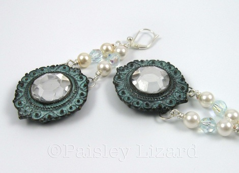Picture of patina metal and glass pearl earrings