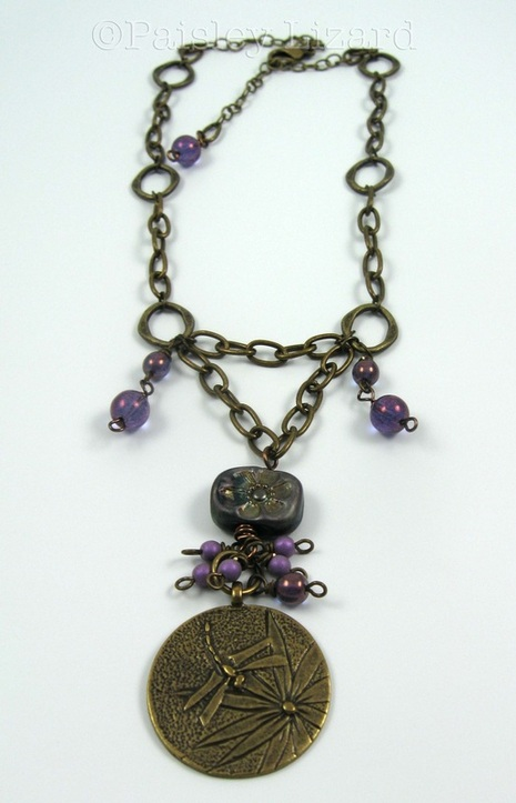 Picture of brass dragonfly charm necklace
