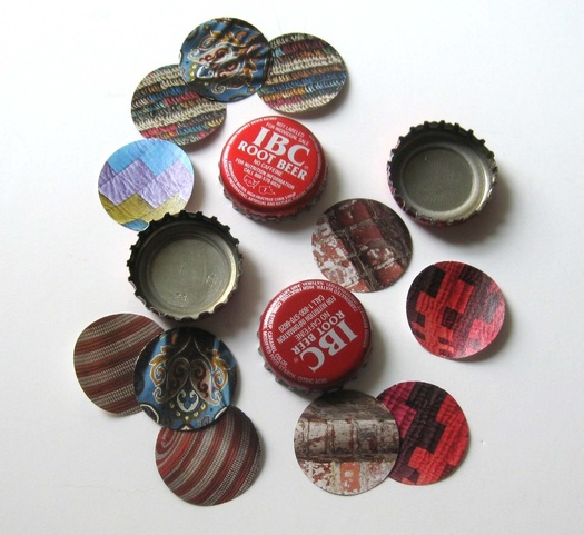 Picture of bottle caps and paper circles