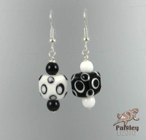 Picture of black and white polka dot earrings